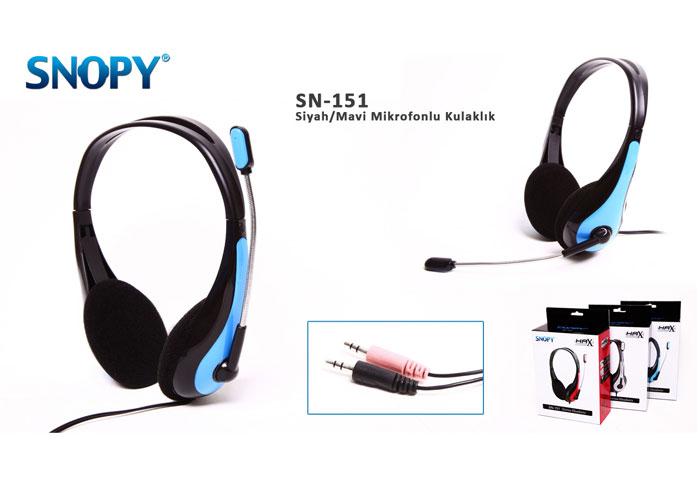 Snopy SN-151 Siyah/Mavi Mikrofonlu Kulaklık
