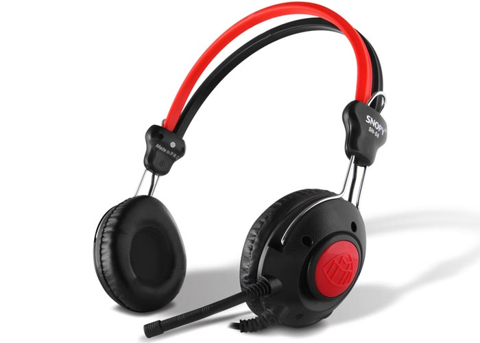 Snopy SN-58 Flexible Mik. Spiral Spring Cable Black/Red Headset
