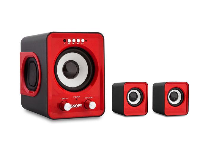 Snopy SN-1130 2+1 5W+3W*2 Red Usb+SD+Fm Supported Multimedia Speaker