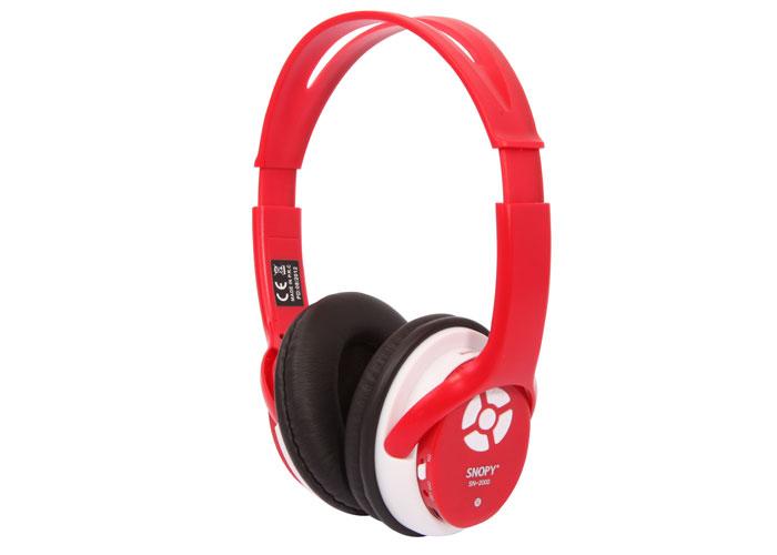 Snopy SN-2000 Mini SD Kart MP3 Oynatıcı Kırmızı FM Destekli Kulaklık