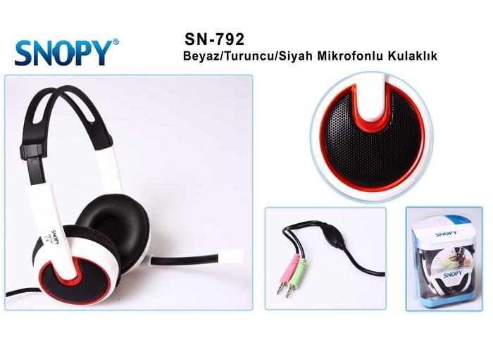 Snopy SN-792 Beyaz/turuncu/siyah Mikrofonlu Kulaklık