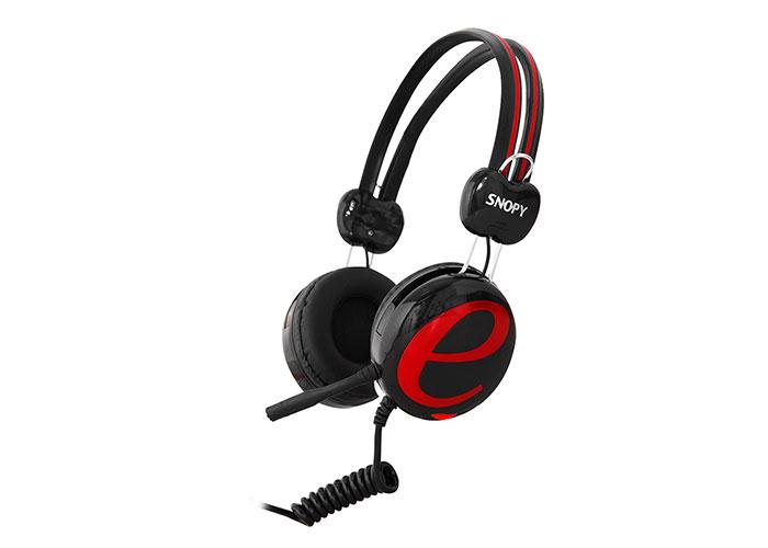 Snopy SN-98A Siyah/kırmızı İnternet Kafe Esnek Kablo Mikrofonlu Kulaklık
