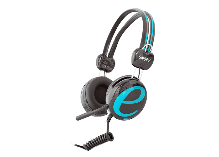 Snopy SN-98A Gri/Mavi İnternet Kafe Esnek Kablo Mikrofonlu Kulaklık