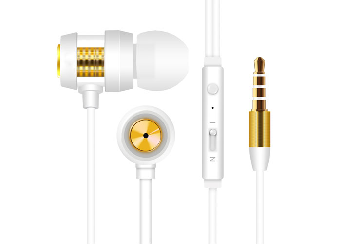 Snopy SN-J01 Mobile Phone Compatible In-ear White / Gold Headset with Microphone