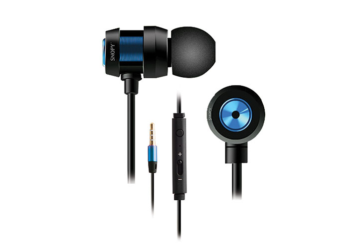 Snopy SN-J01 Mobile Phone Compatible In-ear Black / Blue Headset with Microphone
