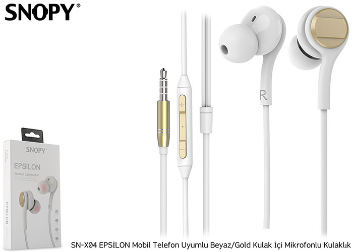 Snopy SN-X04 EPSİLON Mobil Telefon Uyumlu Beyaz/Gold Kulak İçi Mikrofonlu Kulaklık