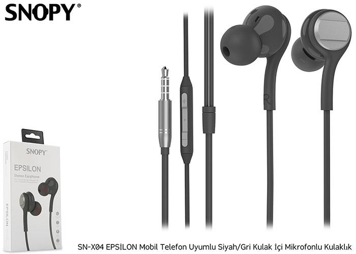 Snopy SN-X04 EPSİLON Mobil Telefon Uyumlu Siyah/Gri Kulak İçi Mikrofonlu Kulaklık