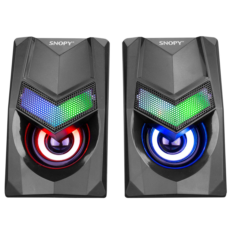 Snopy SN-X25 2.0 Multimedia RGB Işıklı 3W*2 Siyah USB Speaker