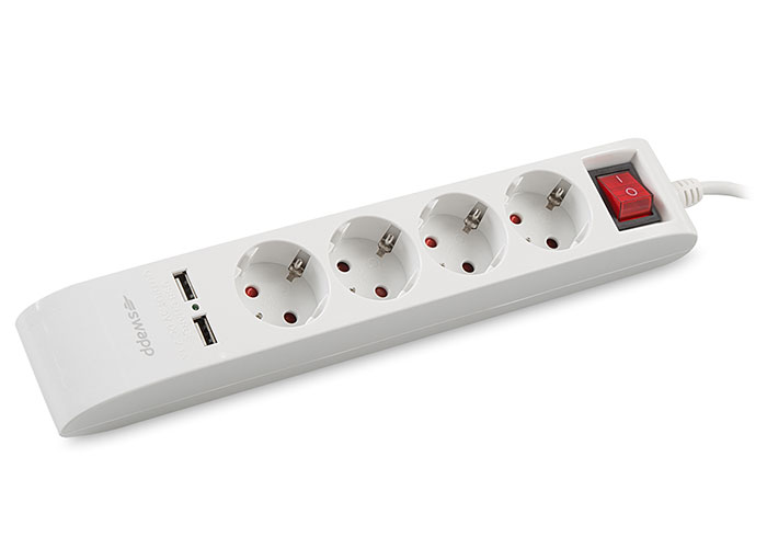 S-link Swapp SPG4-X-4 300 Joule1.5m Kablolu 5 li Akım Korumalı+2 USB Hızlı Şarjlı Grup Priz