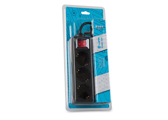 S-link SPG8-3-15 1.5m 3Lü Akım Kor.Kutu Siyah Priz
