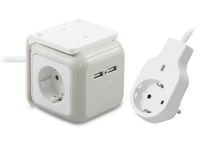S-link SPGX-44 CUBICBOX 1.5m Kablolu 4 lü Akım Korumalı+2 USB Hızlı Şarjlı Grup Priz