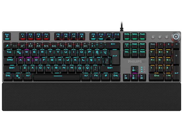 Philips SPK8614 Siyah/Gümüş Rainbow Aydınlatmalı Tam Türkçe Blue Switch Mekanik Gaming Klavye