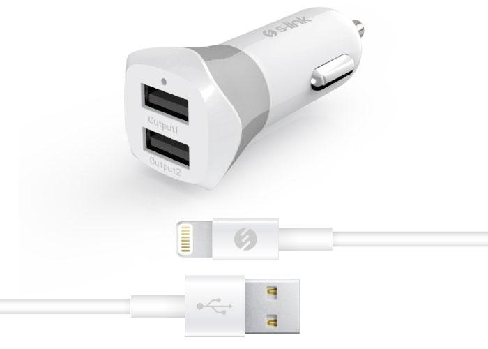 S-link Swapp IP-SW13 Apple Lisanslı 5V 3.4A Lightning Kablo + Beyaz/Gri Araç Şarj Cihazı