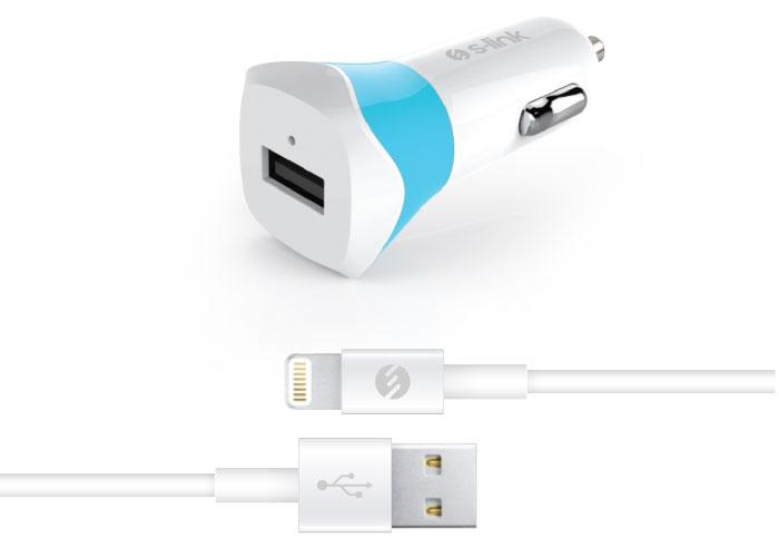 S-link Swapp IP-SW18 Apple Lisanslı 5V 1A Lightning Beyaz/Mavi Araç Şarj Cihazı