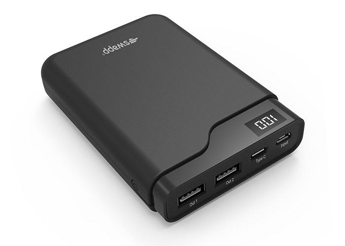 S-Link Swapp IP-S10 10000mAh Lcd Display Type TYPE-C Powerbank Black Portable Power Pack