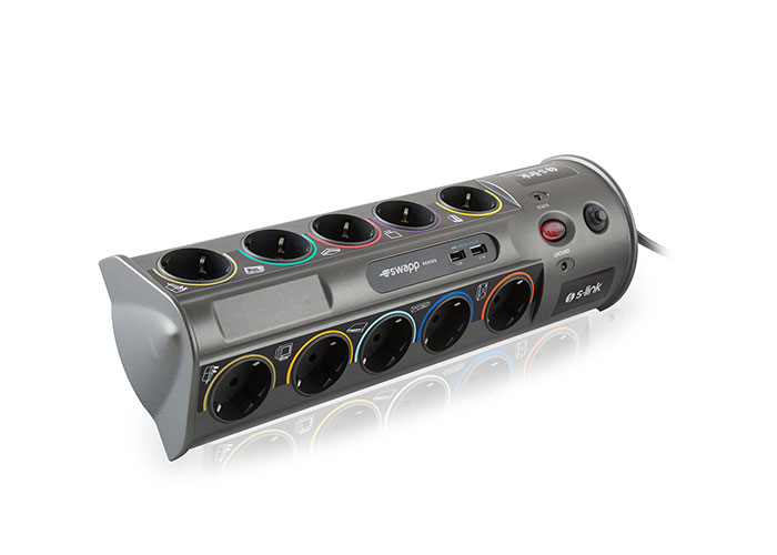 S-link Swapp SP10AF_USB 3.1A 1.8m 1.5mm2 10Lu Current Protection Gray + 2 Usb Port 3100mA 5V Plug Socket