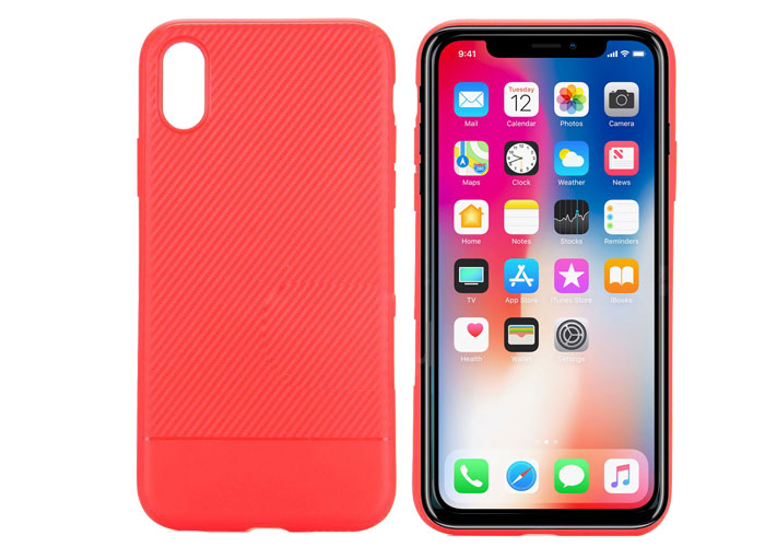S-link Swapp SWK-215R Red iPhone X CarbonFib. Lightweight Protection Cover