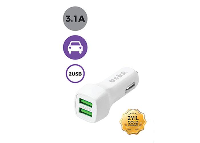 S-link Swapp SW-ACG40B 2 USB, 3.1A Beyaz Araç Şarj Cihazı