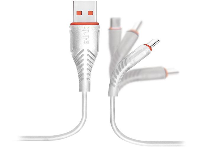 S-link Swapp SW-C595 1.2M 3A Micro Usb Beyaz Şarj Kablosu