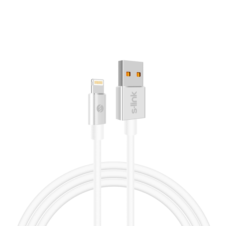S-link Swapp SW-C608 2m 2.4A Usb to Lightning Beyaz Data + Sarj Kablosu