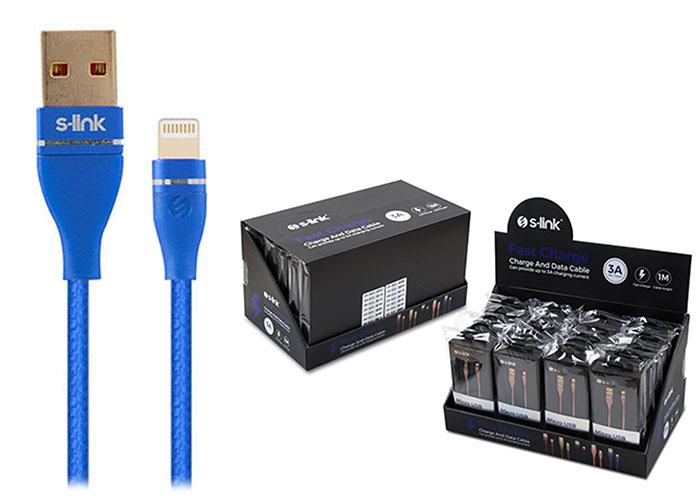 S-link Swapp SW-C640 1M 3A iPhone Lightning Lacivert Şarj Kablosu