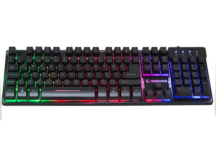 Rampage Titan K9 Siyah USB Gökkuşağı Renkli Aydınlatmalı Q Standart Gaming Oyuncu Klavyesi