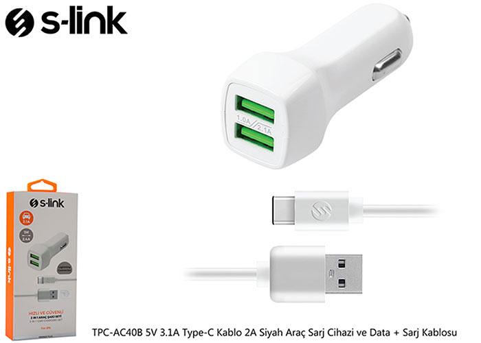 S-link TPC-AC40B 5V 3.1A Type-C Kablo 2A Beyaz Araç Sarj Cihazi ve Data + Sarj Kablosu