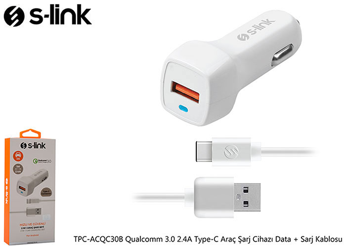 S-link TPC-ACQC30B Qualcomm 3.0 2.4A Type-C Car Charger Data + Charger Cable