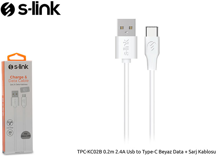 S-link TPC-KC02B 0.2m 2.4A Usb to Type-C Beyaz Data + Sarj Kablosu