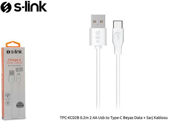 S-link TPC-KC02B 0.2m 2.4A Usb to Type-C Beyaz Data + Sarj Kablosu