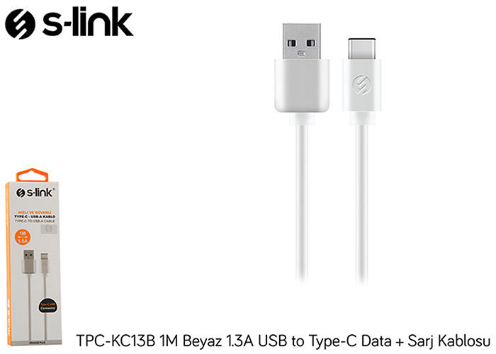 S-link TPC-KC13B 1M Beyaz 2A USB to Type-C Data + Sarj Kablosu