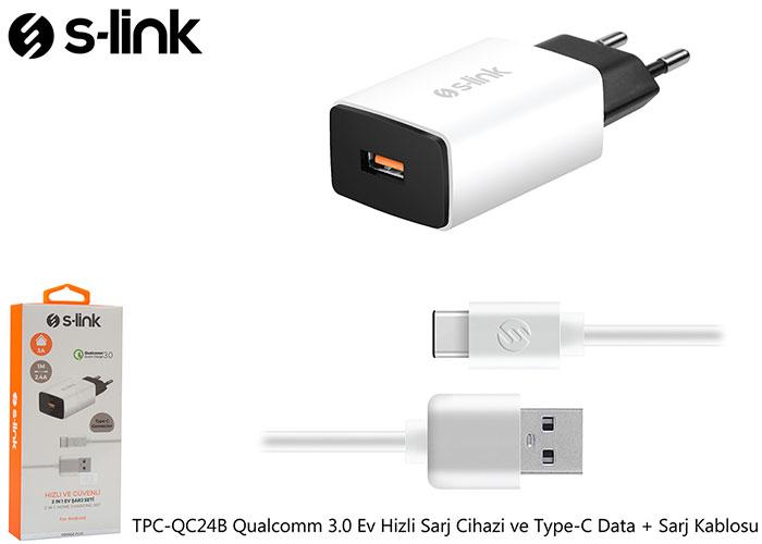S-link TPC-QC24B Qualcomm 3.0 Ev Hizli Sarj Cihazi ve Type-C Data + Sarj Kablosu