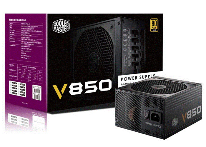 Cooler Master RS850-AFBAG1-EU Vanguard 850W 80 Plus+13,5cm Fan Power Supply