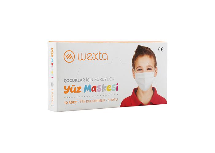 Wexta STL3PLY Çocuk Koruyucu Yüz Maskesi 10lu