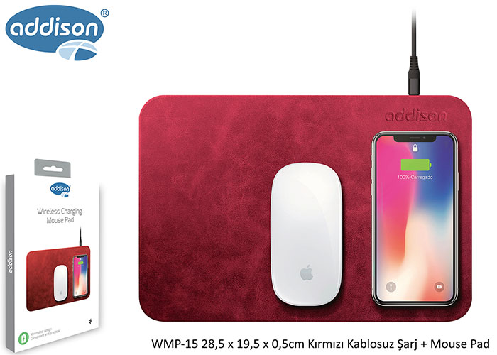 Addison WMP-15 28,5x19,5x0,5cm Kırmızı Kablosuz Şarj+Mouse Pad