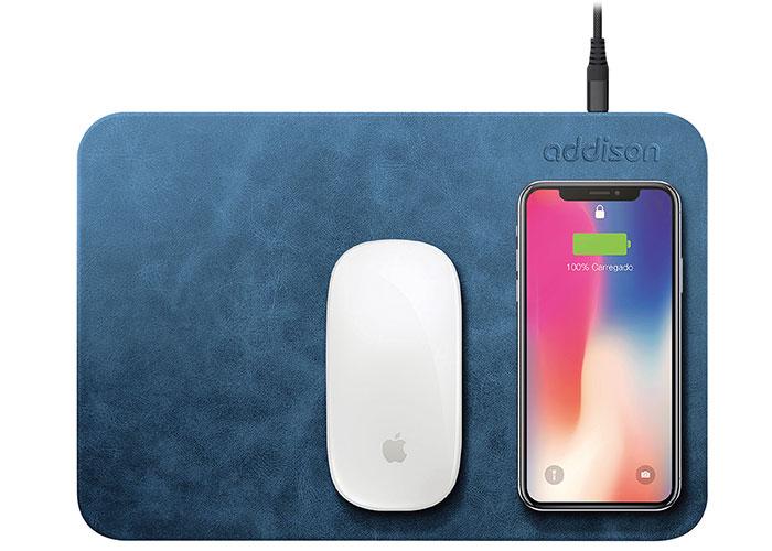 Addison WMP-15 28,5x19,5x0,5cm Mavi Kablosuz Şarj+Mouse Pad