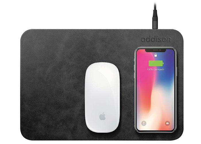 Addison WMP-15 28,5x19,5x0,5cm Siyah Kablosuz Şarj+Mouse Pad