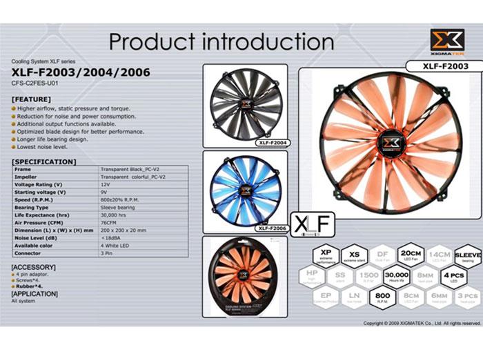 Xigmatek XLF-F2003 200*200*20mm Işıklı Kasa Fanı