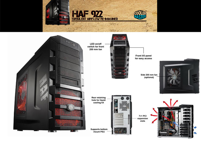 Cooler Master HAF RC-922M-KKN1-GP Siyah Kasa