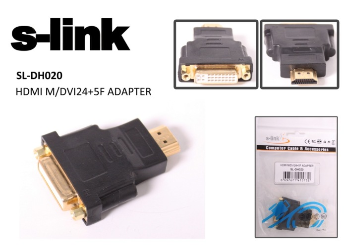 S-link SL-DH020 DVI-(24+1)F TOHDMI M SL-DH020 Adaptör