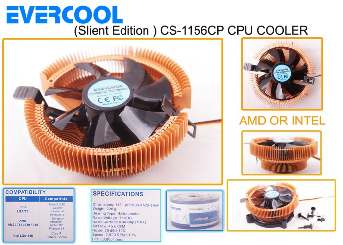 Evercool CS-1156CP Amd AM/939/1156/775 CPU Fan