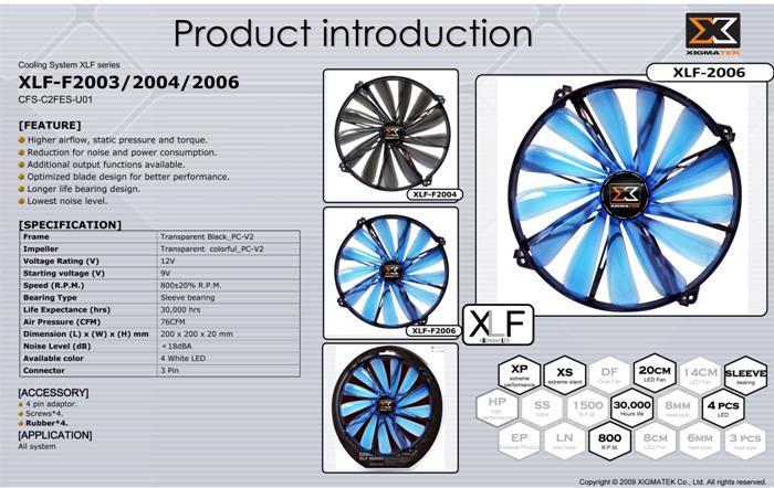 Xigmatek XLF-F2006 200*200*20mm Işıklı Kasa Fanı
