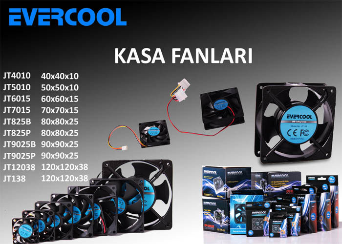 Evercool JT825P 80*80*25mm Kutulu Powerdan Beslemeli Kasa Fanı
