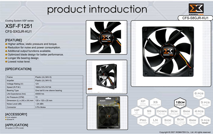 Xigmatek XSF-F1251 120*120*25mm Kasa Fanı