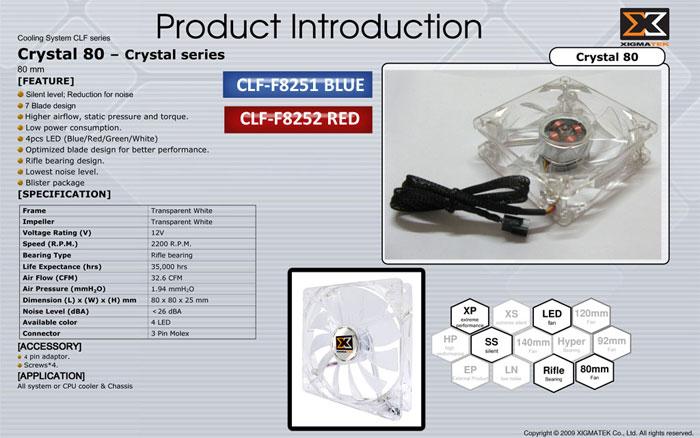 Xigmatek CLF-F8251 80*80*25mm Mavi Led Işıklı Crystal Kasa Fanı