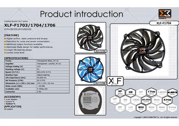 Xigmatek XLF-F1706 170*170*20mm Işıklı Kasa Fanı