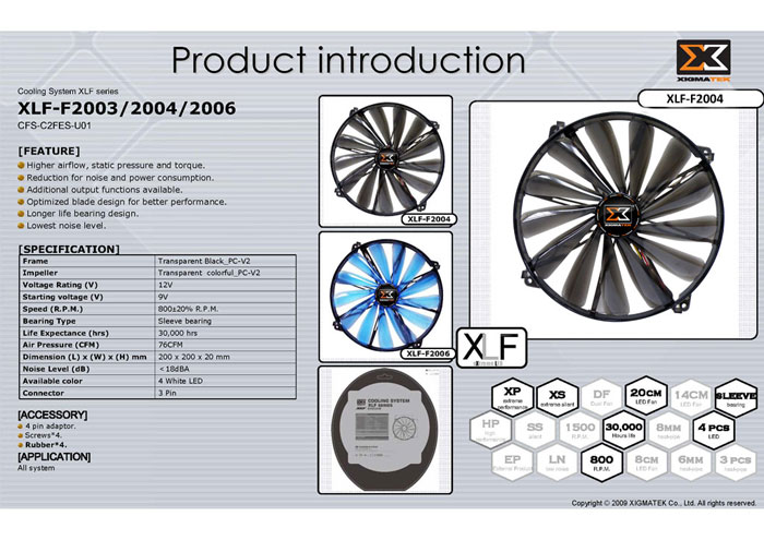 Xigmatek XLF-F2004 200*200*20mm Işıklı Kasa Fanı