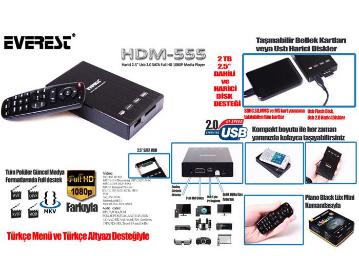 Everest HDM-555 Harici 2.5 Usb 2.0 SATA Full HD 1080P Medya Oynatıcı