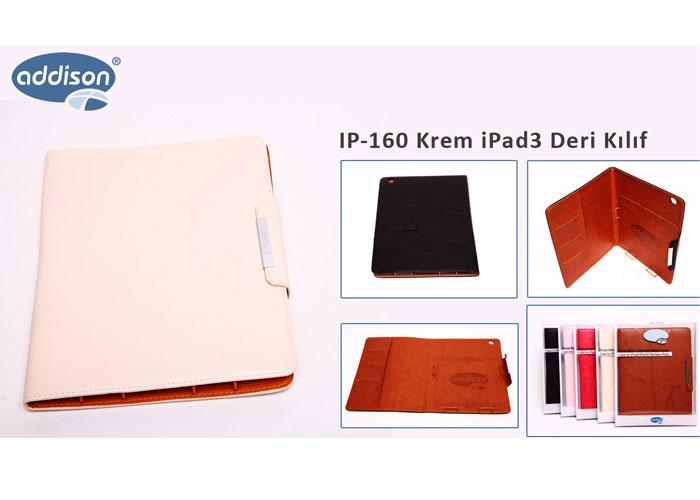 Addison IP-160 Beyaz iPad3 Deri Kılıf