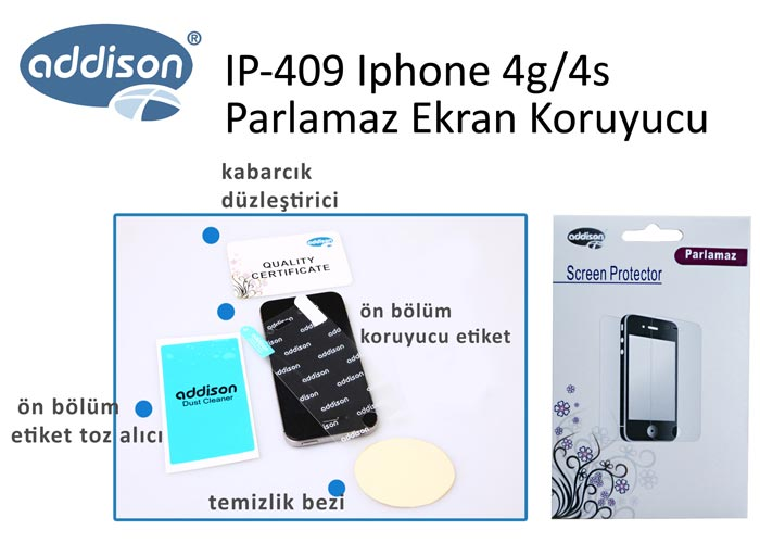Addison IP-409 Iphone 4g/4s Mat Ekran Koruyucu